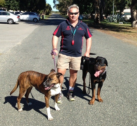 Eric with Brindle and Rottweiler