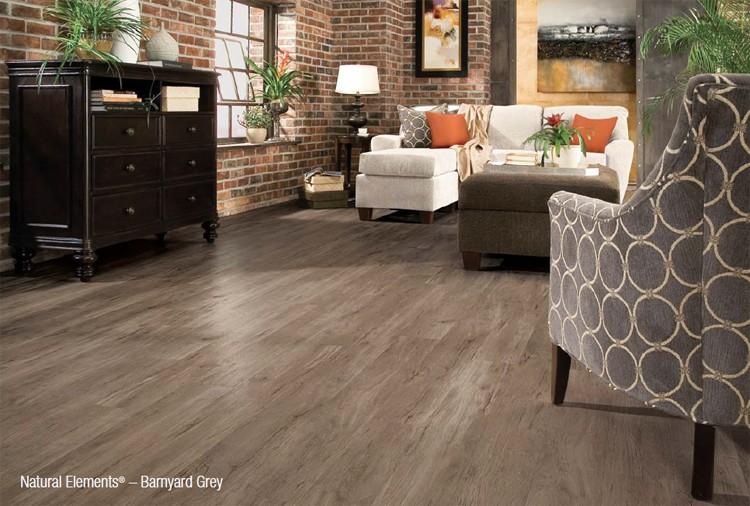 Living Room with Natural Elements - Barnyard Grey Vinyl Flooring
