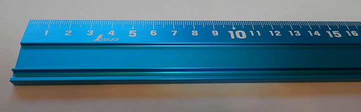 Shinwa Blue Stainless Steel ruler 30cm SP 65415 close up