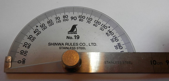 Shinwa Stainless Steel 15cm Protractor SP 62480 close up