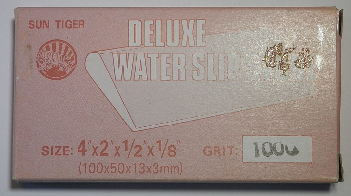 Sun Tiger Deluxe water Slip Stone 1000 Grit 4 inch by 2 inch by half inch by one eighth inch box