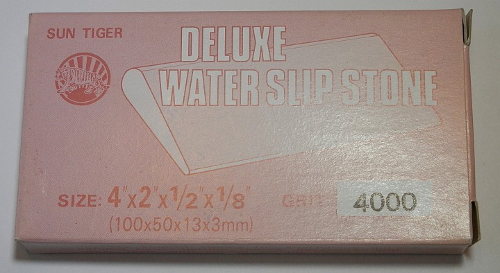 Sun Tiger Deluxe water Slip Stone 4000 Grit 4 inch by 2 inch by half inch by one eighth inch box